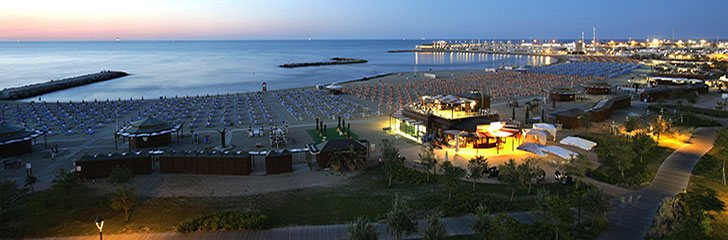 Panoramic view of the beach in Rimini